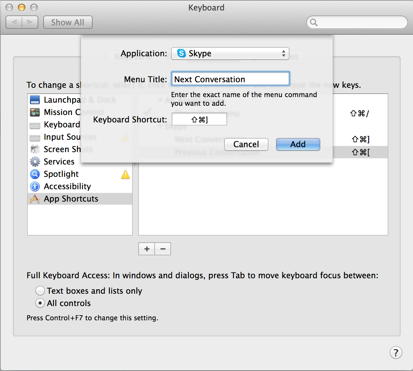 Changing hotkeys in Skype on OS X