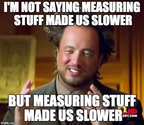 I'm not saying measuring stuff made us slower, but measuring stuff made us slower.